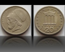 Greece 20 Drachmai (old lettering) 1978 KM#120