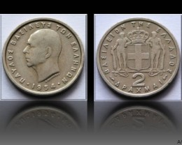 Greece 2 Drachmai-Paul I. 1954 KM#82