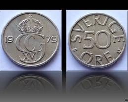 Sweden 50 Öre-Carl XVI Gustaf 1979 KM#856