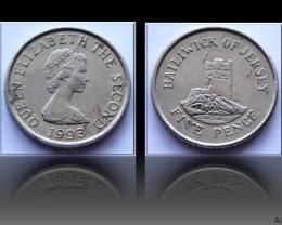 Jersey 5 Pence-Elizabeth II. small type 1993 KM#56.2