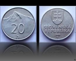 Slovakia 20 Halierov 2000 KM#18