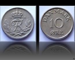 Denmark 10 Öre-Frederik IX. 1958 KM#841