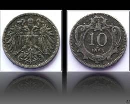 Austria 10 Heller-Franz Joseph I. 1895 KM#2802