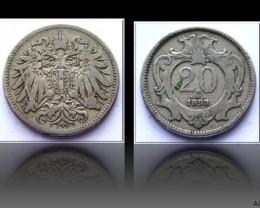 Austria 20 Heller-Franz Joseph I. 1893 KM#2803