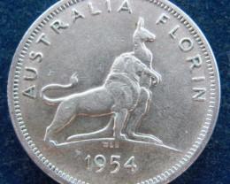 AUSTRALIA 1954 Florin - Silver - AU -Royal Visit-1 year mint