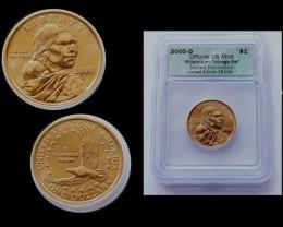 Sacagawea Dollar 2000-D Genuine Burnished ICG Millennium