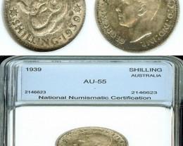 AUSTRALIA 1939  SHILLING - SILVER - AU 55 - KM 39 - KEY DATE
