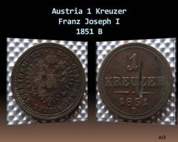 Austria 1 Kreuzer-Franz Joseph I. 1851 B KM#2185