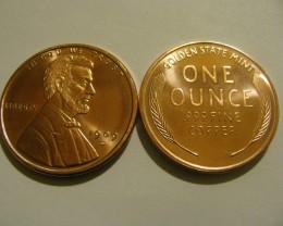 1 OZ. Lincoln 1909-S Copper Round