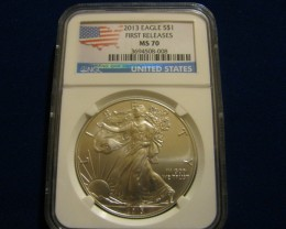 2013 *FR MS70 Silver American Eagle Flag Label NGC