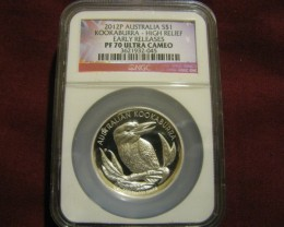 2012P Kookaburra High~Relief Proof70 ER Ultra Cameo Aus Flag