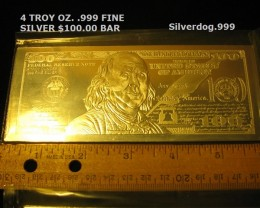 2013 $100 BEN FRANKLIN 4~OZ. .999 FINE SILVER BAR