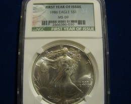 1986 *First Year of Issue Silver Eagle MS69
