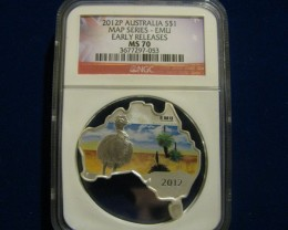 Australian Map Shaped Coin~Emu 2012 1OZ. Silver Coin
