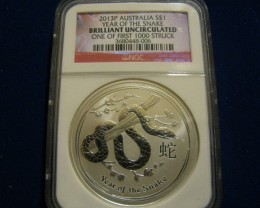 2013P Year of the Snake one of 1st. 1000 coins struck NGC BU