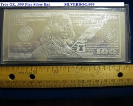 2013 $100 BEN FRANKLIN 4~OZ. .999 FINE SILVER BAR
