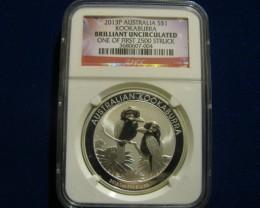 2013P Australia Kookaburra BU 1st. of 2500 Coins Struck