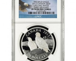 2013 Canada Silver Bald Eagle Lifelong Mates 1oz PF70 UC ER