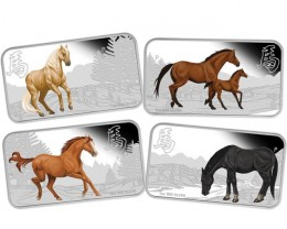 2014 YEAR OF THE HORSE 1OZ SILVER RECTANGLE FOUR-COIN SET