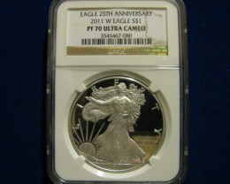 2011 25TH Anniversary PROOF 70 Ultra Cameo Silver Eagle
