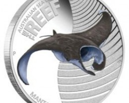 "Sea Life II"" The Reef Manta Ray 2012 1/2oz Silver Proof"