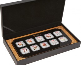 2014 YEAR OF THE HORSE 1OZ SILVER SQUARE TEN-COIN COLLECTION