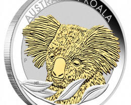 AUSTRALIAN KOALA 2014 1OZ SILVER GILDED EDITION