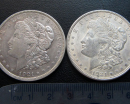 TWO 1921 MORGAN DOLLAR SILVER COIN   CO 1703