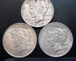 1922   THREE PEACE DOLLAR SILVER COINS   CO1704