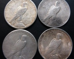 1922-24   FOUR  PEACE DOLLAR SILVER COINS   CO1705