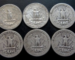 Parel six  90% silver quarters CO 1716