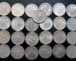 Parcel 23 mercury n Roosevelt Dimes  90% silver Co 1718