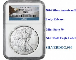 NEW 2014 MS70 Silver American Eagle Early Release NGC Slab