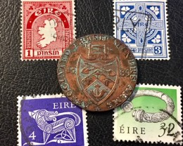 BRITISH  IRISH MINERS ASSOCIATION  TOKEN  PLUS STAMPS  J832
