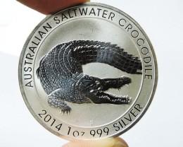 2014 Salt water crocodile 1 Oz silver Bu