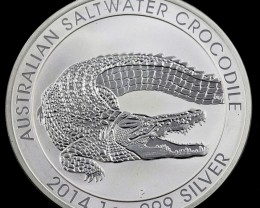 25 inner 2014 Salt water crocodile One  Ounce Silver Coin