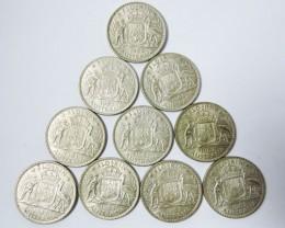 10 1963 FLORIN SILVER AUSSIE COINS  CO 1726