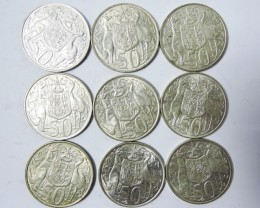 9  SILVER 1966 50 CENT  AUSSIE COINS  CO1727