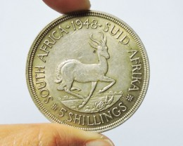 1948 FIVE SHILLING SOUTH AFRICA 80% SILVER CO17 CO 1741