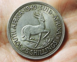 1949 FIVE SHILLING SOUTH AFRICA 80% SILVER CO17 CO 1742