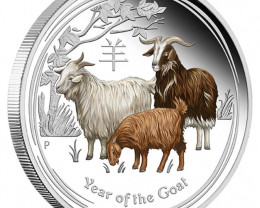 COLOURED LUNAR SERIES II 2015 YEAR OF THE GOAT SILVER PROOF