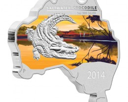 AUSTRALIAN MAP SHAPED COIN SERIES – SALTWATER CROCODILE 2014 1OZ SILVER COI