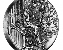 GODS OF OLYMPUS – HADES 2014 2OZ SILVER HIGH RELIEF RIMLESS COIN