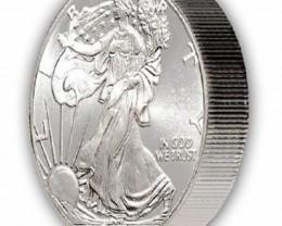 2~Troy OZ. 2014 Silver Eagle Round GEM BU Proof-Like .999 Fine
