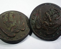 Pair WW11 US Buttons   AGR1360
