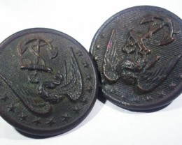 Pair WW11 US Buttons   AGR1364