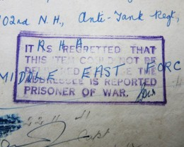 WW11 Prisoner of war letter  AGR1375
