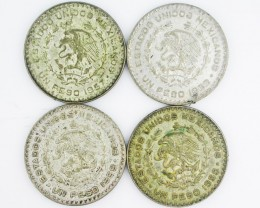 (MAYAN) 4  MEXICAN UN  PESO  COINS  CO2002