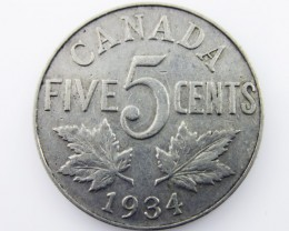 Canadian 5  cent coin 1934  CO 2036