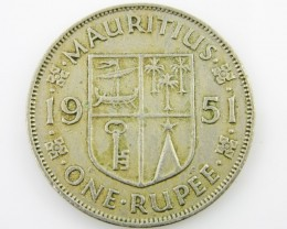Mauritius silver  one rupee coin CO 2049